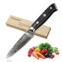 SUNNECKO 3,5 «кожура Ножи 73-слоев высокоуглеродистой японский Дамаск VG10 Сталь Кухня ножи для овощей Sharp G10 ручка резки