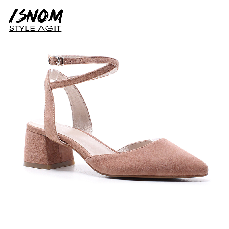 ISNOM 2018 Fashion Sandals for Women Kid Suede Ankle Strap Summer Footwear Casual Thick Med Heels Dress Shoes Woman Caramel isnom 2018 summer sandals for women heel