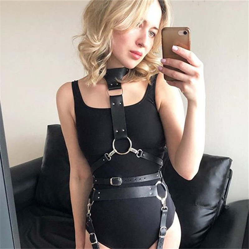 Gothic PU Leather Choker Harness Waist Belt Women Sculpting Waist Straps Handmade Adjustable Corset Belt 2019 New Waistband