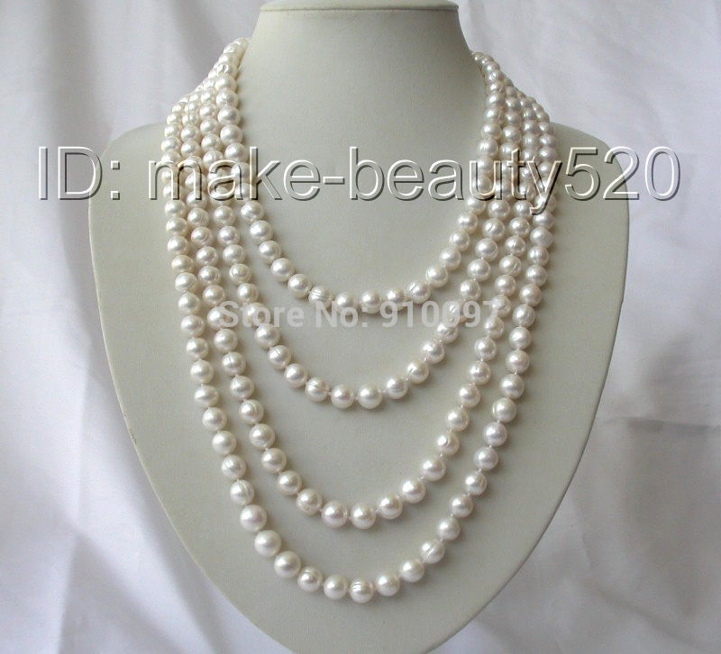 """7 shipping >>>stunning long 100"""" 10mm round white freshwater cultured pearl necklace"""