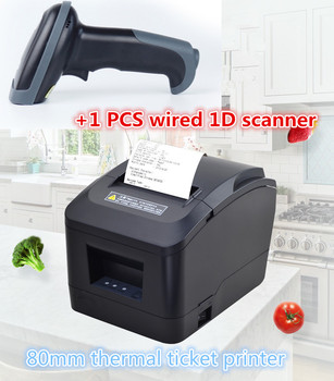 Gift1 PCS wired 1D scanner + pos Ticket printer High quality 80mm thermal receipt printer automatic cutting USB port or Ethernet
