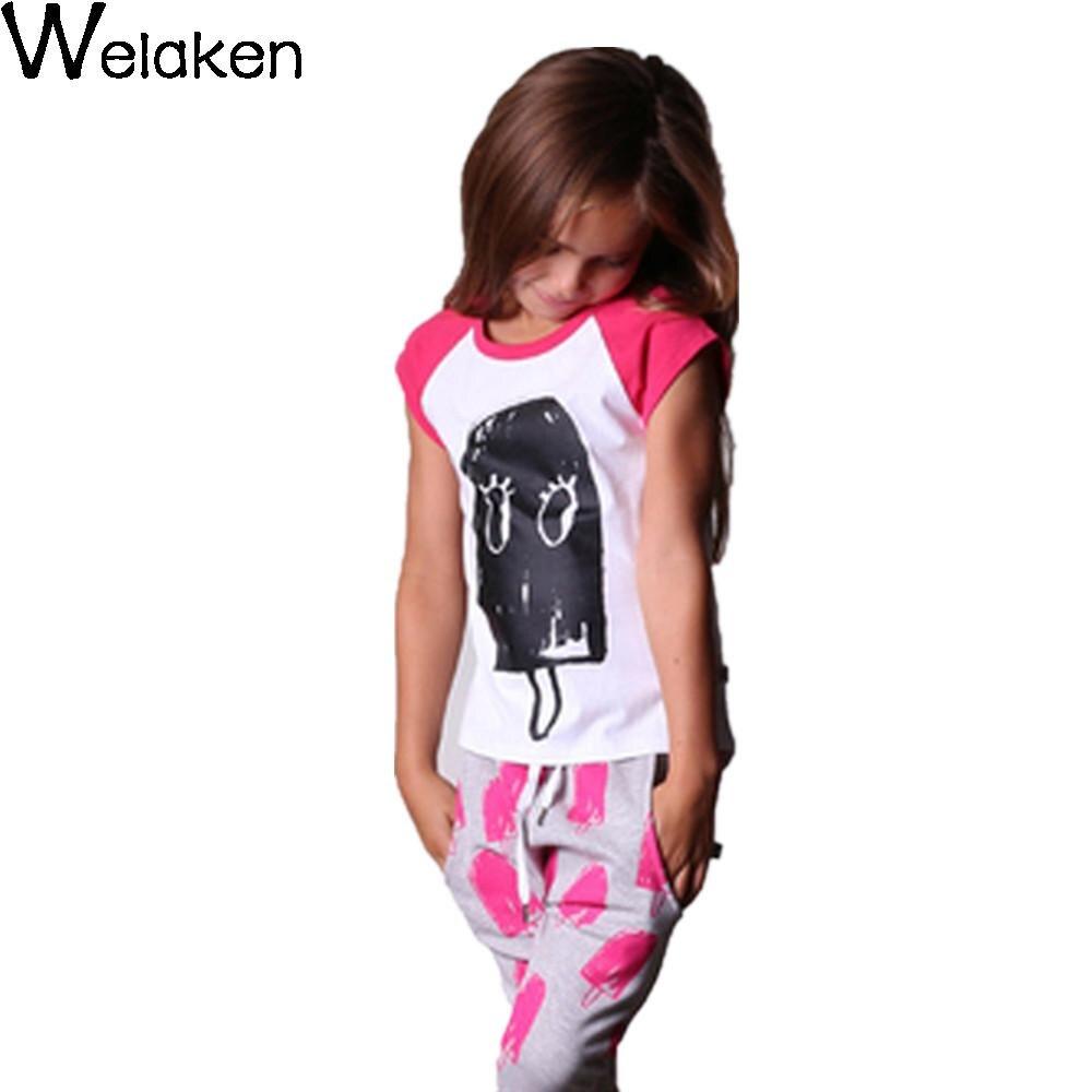 New 2016 Baby Girl T font b Shirt b font Ice Cream Pirnt Casual Short Sleeve