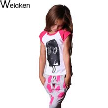 New 2016 Baby Girl T Shirt Ice Cream Pirnt Casual Short Sleeve Cotton Children Tops High Quality Kids T-Shirt