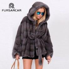 FURSARCAR 2019 New Arrival Real Mink Fur Coats Women With Hood Bat-sleeved Winter Genuine Leather Female Coat