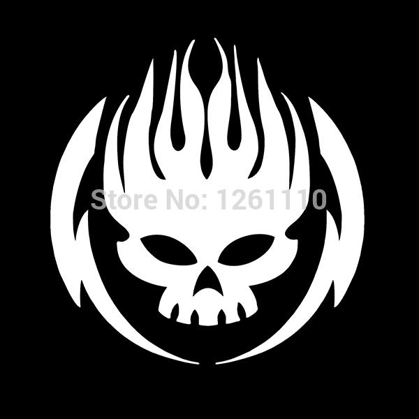 hotmeini 12 5x13cm skull fire skeleton vinyl car sticker truck car
