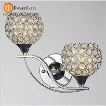 Современный стиль нержавеющей стали бра два и половина сферической лампы-дымоход фойе хрусталя бра бесплатная доставка