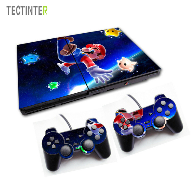 for mario vinyl skin sticker cover for sony ps2 console with 2