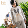 GRLBOBRA 2017 New Flannel Stitching Pajamas Ladies Rabbit Ears Cute Pajamas Sets Women Winter Thicken Warm Sleepwear PyjamaS0035