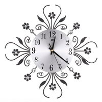 Inlaid Diamond Flower Wall Clock Luxury Vintage Metal Large Wall Watch Living Room Silence Bedroom Morden Home Decor Wandklok