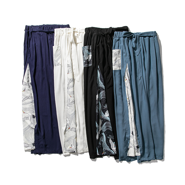 Sinicism Store 2020 Summer Chinese Style Cotton Pants Mens Patchwork Vintage Loose Pants Male Wide Leg Pants 15