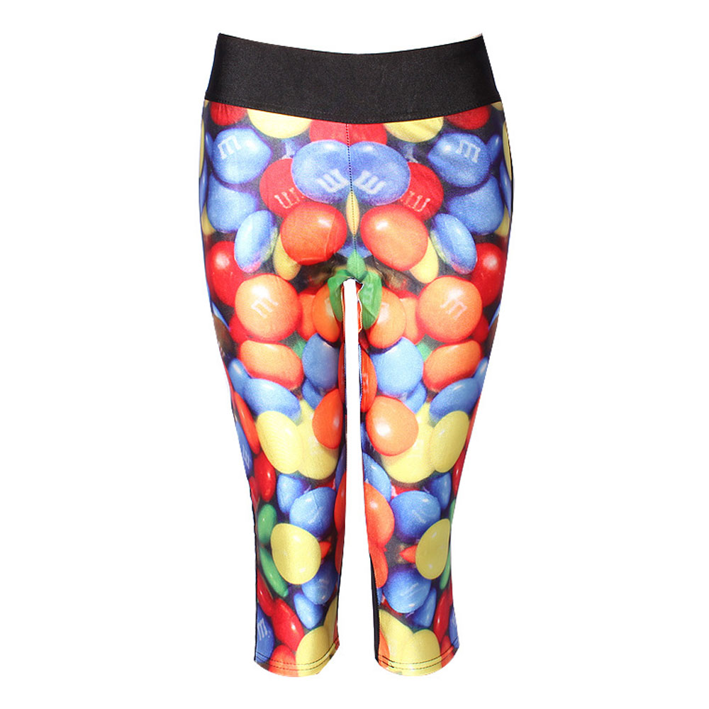 2016 Hot Sale Women Exercise Leggings 3D Pill Pattern High Quality Exercise   Pants   Fitness Patchwork Sexy Legging   Capris