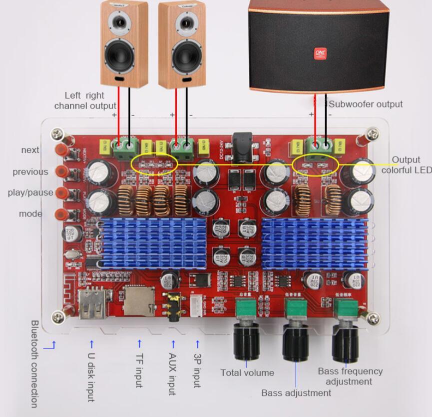TDA3116 2*60W+100W 2.1 Channel Bluetooth Audio Digital Amplifier Board subwoofer AUX TF U Disk Decoding