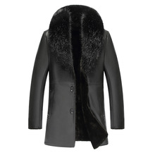 2018 New Winter Long Fur Collar Blazer Section Men Coat MenS Business Casual Leather Jacket Fleece Warm Thick Outcoat
