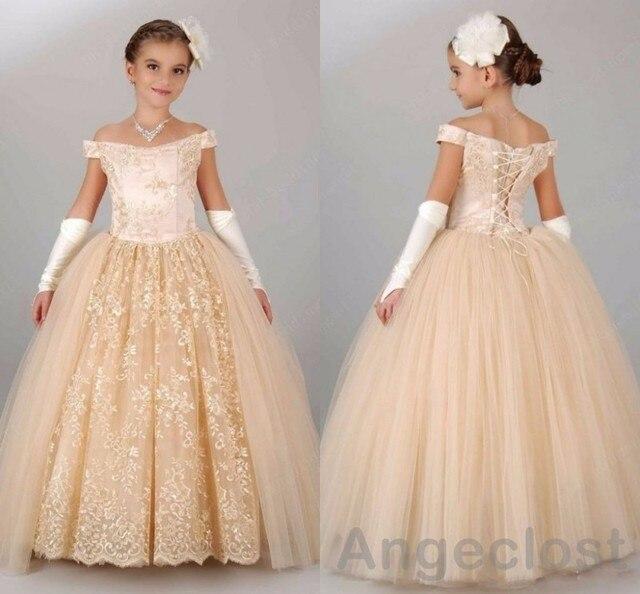 3a4d7061130 Champagne Borgoña Flor Niñas Vestidos 2017 Real de La Foto de Encaje Balón  vestido de Encaje