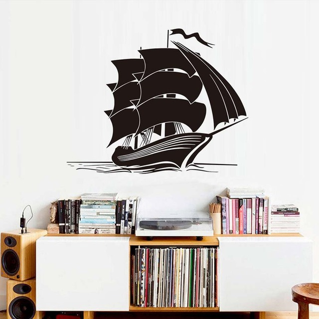 Funny Ship Wall Stickers Vinyl Removable Home Decor Kids Bedroom Silhouette  Wall Decals Sea Boat Interior