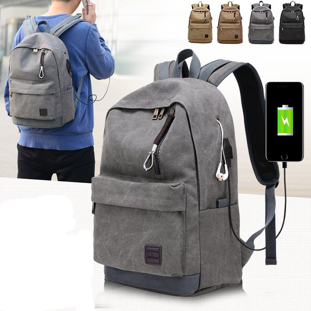 Backpack Men Laptop Bag Travel Mens Bag Mochila Masculina Solid Backpack Male School Bag Multifunction Canvas #442