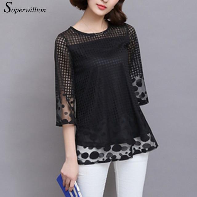 2d279b38ea3 Soperwillton 3 4 Sleeve Lace Blouse Hollow Out Women Summer Blouses Elegant  Shirts Loose O-Neck Mesh Shirt Plus Size M-5XL  B753