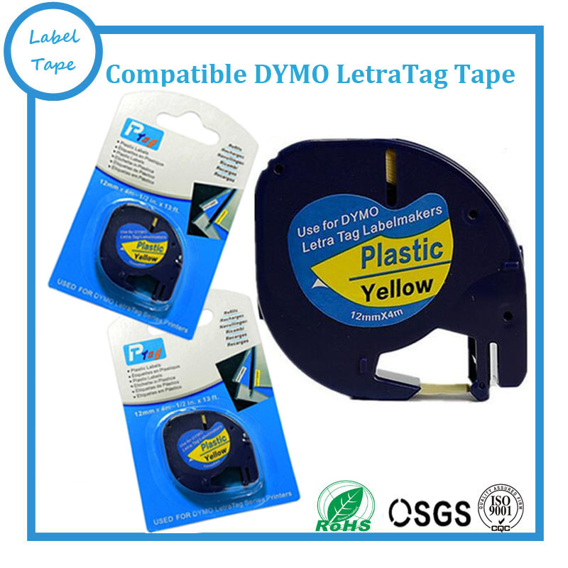 10 x tape cartridge 91202 yellow plastic 12mm x 4m for DYMO LETRATAG label maker