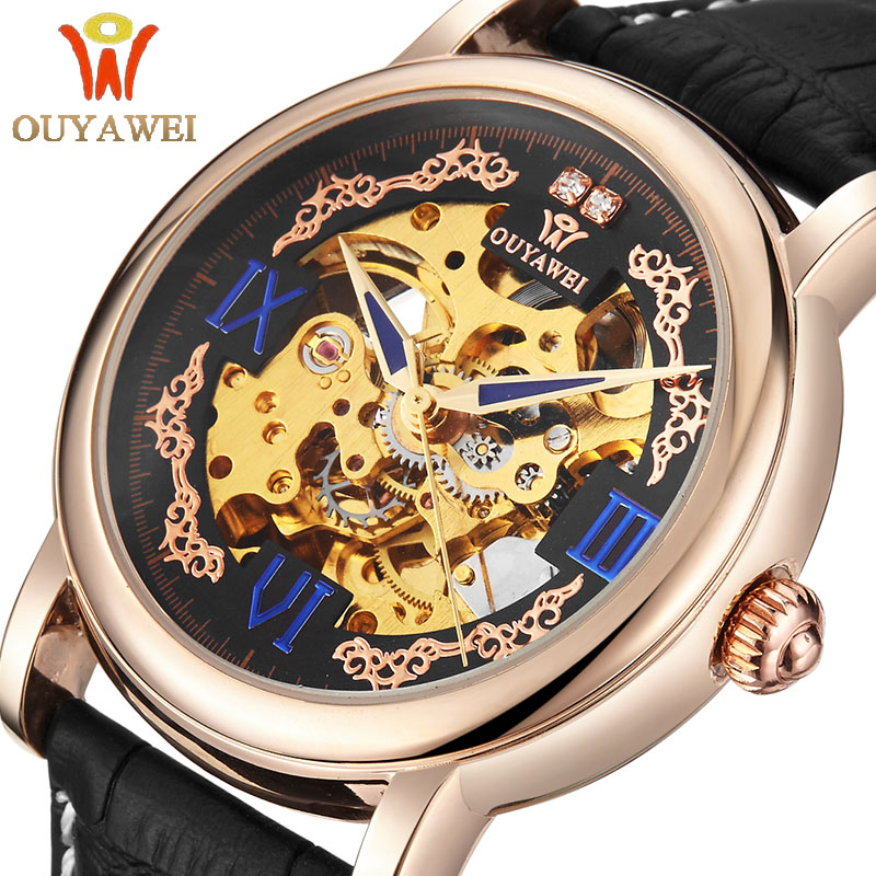 OUYAWEI Royal Diamond Design Black Gold Watch Montre Homme Mens Watches Top Brand Luxury Relogio Male Skeleton Mechanical Watch оттяжка black diamond black diamond positron quickdraw 12см