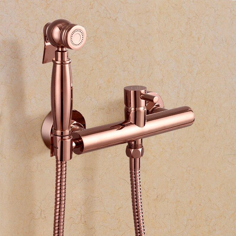 Todos os cobre dois buracos estilo Europeu quente e fria mixer bidé spray rose ouro Pulverizador montado na parede torneira do Chuveiro antigo