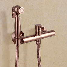 all copper two holes European style hot and cold mixer bidet spray rose gold Sprayer Shower antique faucet wall mounted