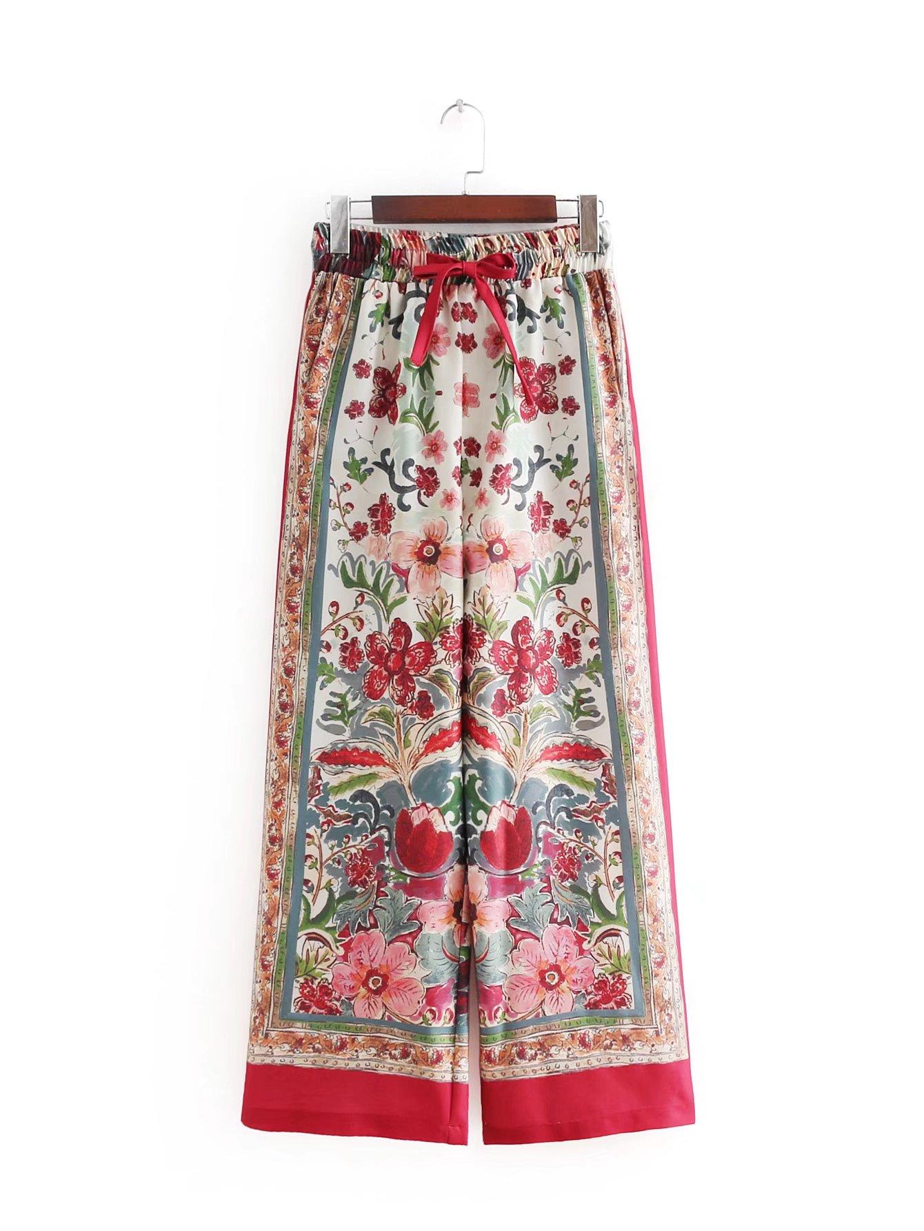 LYFZOUS Women Casual Loose   Wide     Leg     Pants   Vintage High Waist Trousers Casual Flower Printing Long   Pants   Pantalones Mujer