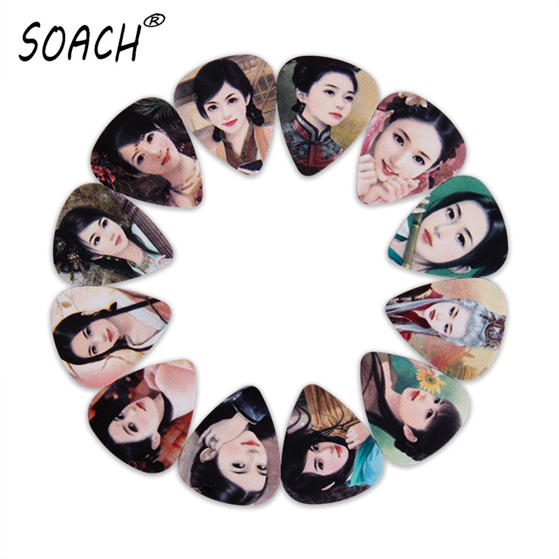 SOACH 10pcs 3 kinds of thickness guitar picks bass Ancient noble Beautiful girl pictures high quality print Guitar accessories