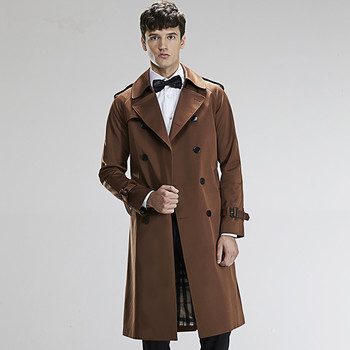 Spring Men's Basic Trench Double Breasted Ultra Long Paragraph Trench Male Trench Tiebelt Trench