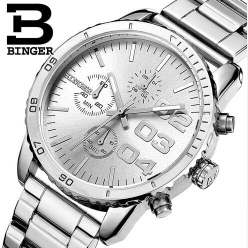 27bb25cf19a Suíça binger homem relógio do esporte do cronógrafo dos homens de luxo  relógios genuínos homens de aço quartz relógio de pulso relogio masculino