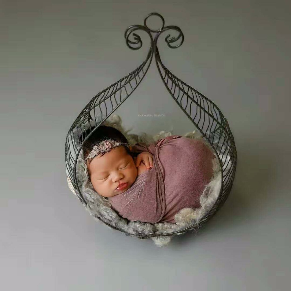 Vintage Baby Photo Props Khaki Iron Newborn Hanging Bed ...