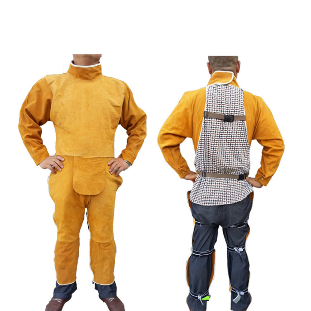 Cow Leather Safety Welding Coverall Adjustable size Long Sleeve Long Pants Protective Soldering Clothes for Men&Welders GM1012 new safurance welders dual leather