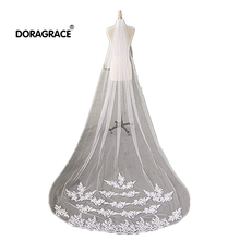 Doragrace Romantic White Ivory Cathedral Length Lace Wedding Veil Long Bridal Veils With Comb