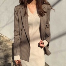 Elegant Vintage Office Lady Blazer Classic Plaid Double Breasted Female Slim Chic Small Suit British Style Jacket 2019