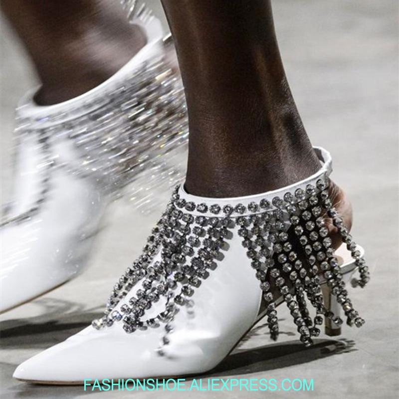 Hottest Spring 2018 Wedding Shoes Runway Crystal Embellished Fringe High Heels Summer Women Sandals Cut Out Pointed Toe Pumps