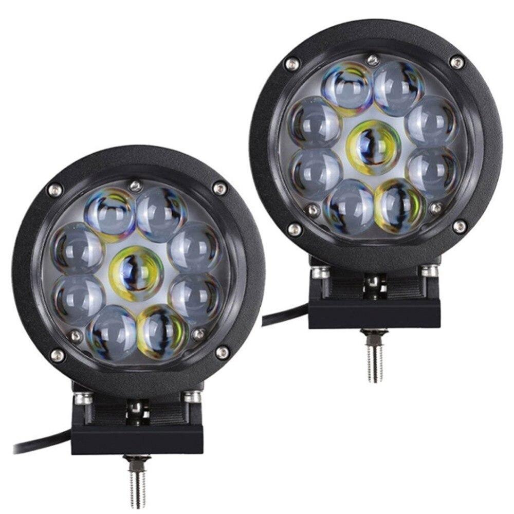 2pcs 5inch 45W LED Round Work Spot Light Offroad Driving Car Light 3800 Lumen for SUV ATV Truck Car boat engineering mining
