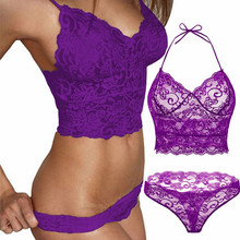79c16f7d5b 2pcs Transparent Women Bra Set Lace Lingerie Set Sexy Hot Erotic Flowers  Purple Seamless Underwear Brief