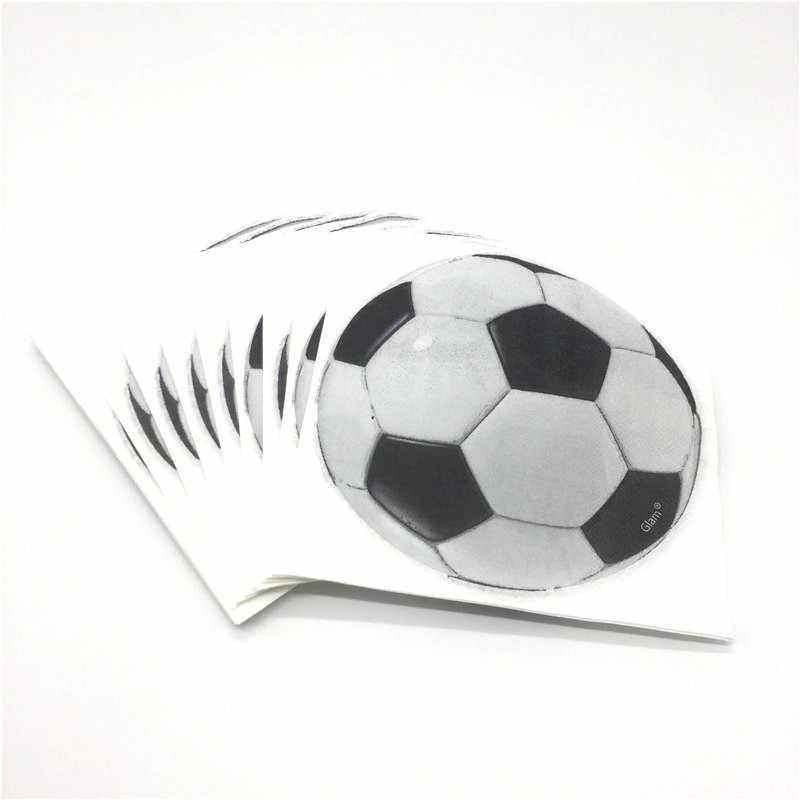 Крутой белый дизайн футбольной тематики 60 шт./партия чашки + тарелки + салфетки семейные вечерние дети день рождения для украшения детского душа