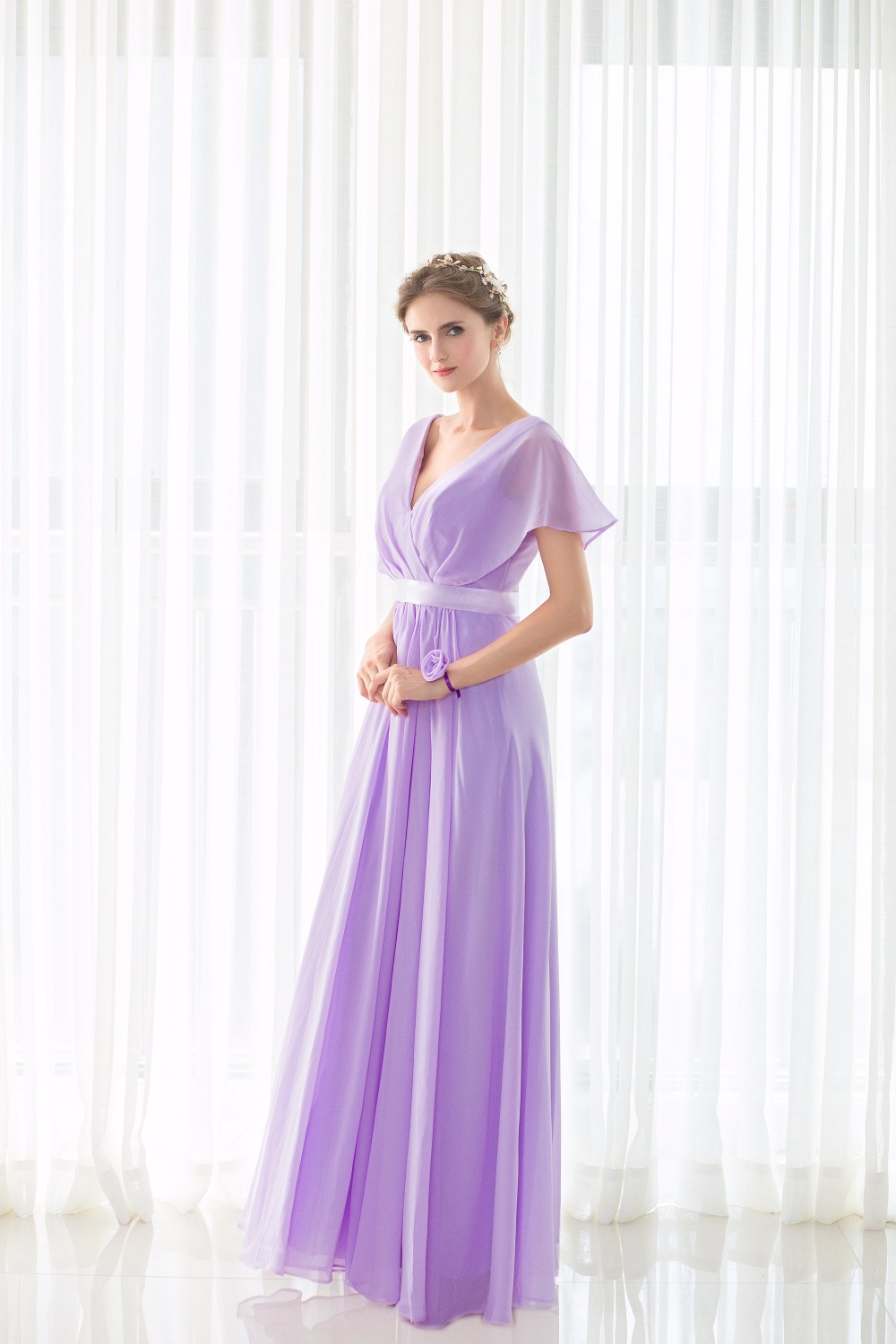 Real Pictures robe honneur Long Lilac Bridesmaid Dresses Short Sleeves V neck Floor Length Chiffon Bridesmaid Gown Free Shipping 6