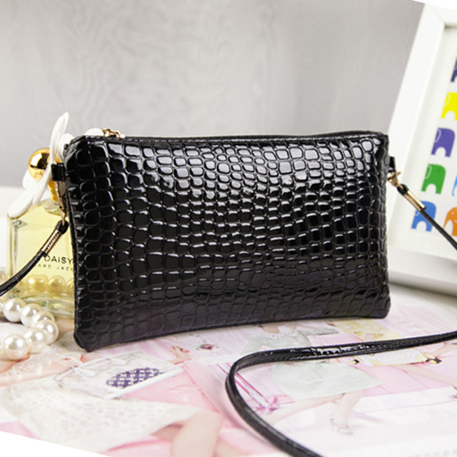 New Arrival Fashion Bags Lady Patent Leather Crocodile Messenger Bags Small PU Leather Shoulder Crossbody Bag Women Clutch Bag