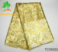 TCO65 High Quality African Lace Fabric,Latest Organza Lace Fabric Sequins Embroidered beads Hot Selling Nigerian Lace Fabric