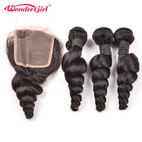 Loose Wave Bundles With Closure Remy Brazilian Hair Weave Bundles 100 Human Hair Bundles With Closure