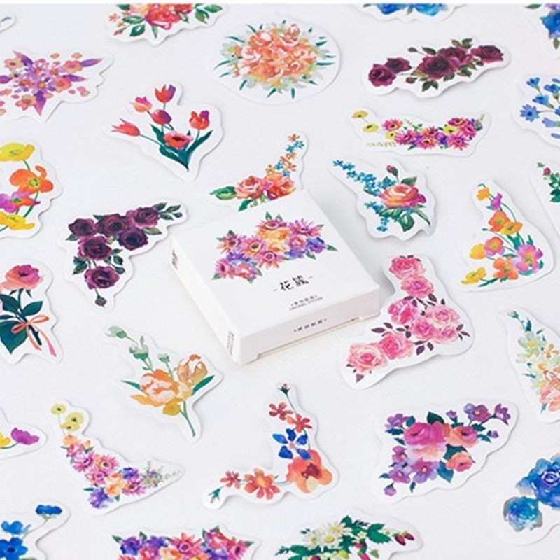 45pcs/pack Creative Flowers Decorative Diy Diary Stickers Kawaii Planner Scrapbooking Sticky Stationery Escolar School Supplies