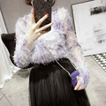 [CHICEVER] 2017 Spring Long Sleeve Half High Collar Loose Dimensional Wild And Harness 2 Pieces Lace T-shirt Women New Fashion