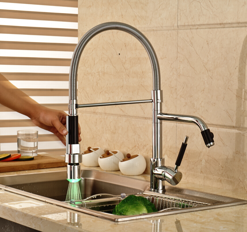Chrome Single Handle Pull Down Spray Kitchen Sink Faucet One Hoel Hot&Cold Water Mixer Tap LED Light kitchen chrome plated brass faucet single handle pull out pull down sink mixer hot and cold tap modern design