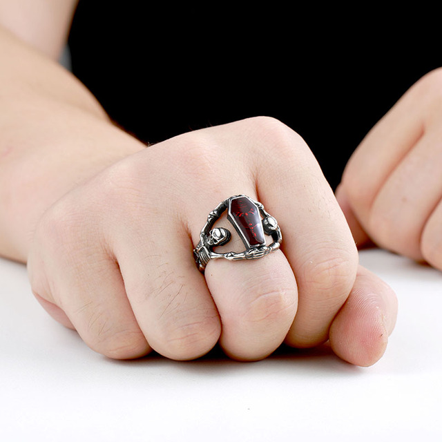 Skull/Skeleton Ring Stainless Steel with Red Jewelry