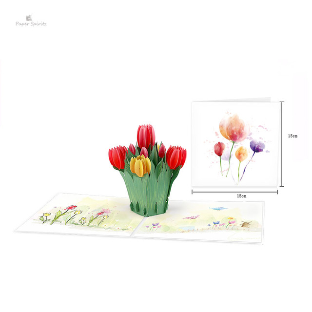 3d Tulip Pop Up Flower Card Pop Up Card For Birthday Thanksgiving