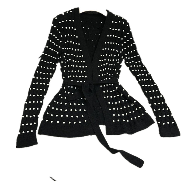 Fashion Pearls beading v neck knitted cardigans for women sweater black long sleeve S M L