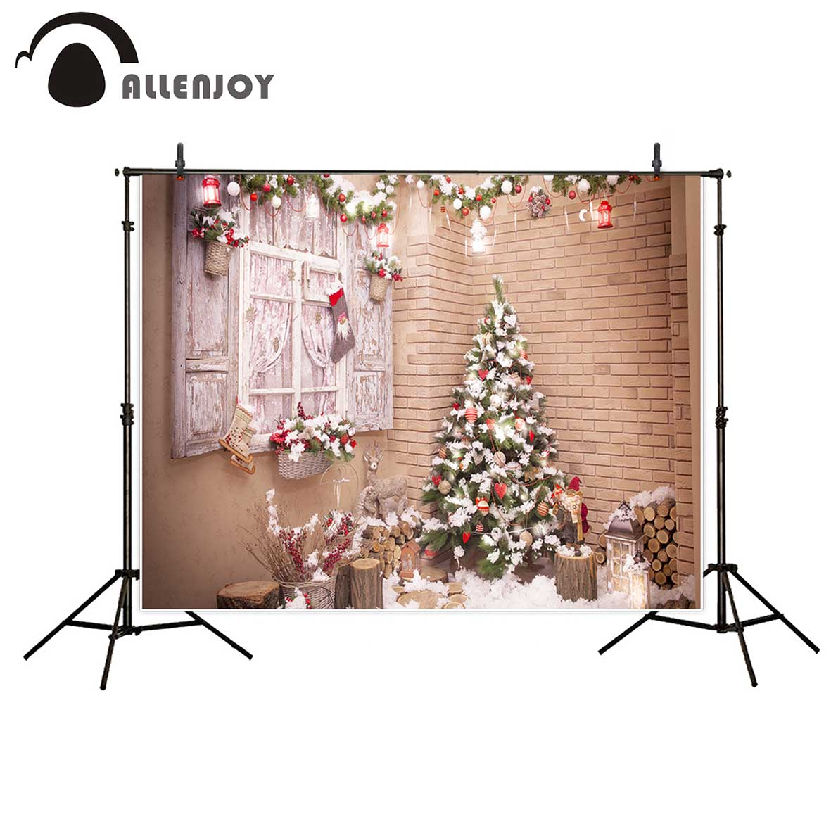 Allenjoy photographic background Winter snow window life lantern Christmas new backdrop photocall photo printed customize