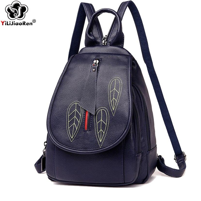 Fashion Embroidery Backpack Female Luxury Women Brand Designers Leather Backpacks Large Capacity Bookbag Mochila 2019