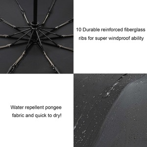 Image 5 - 바람 저항 접는 자동 우산 비 여자 남자에 대 한 자동 럭셔리 큰 Windproof 우산 비 블랙 코팅 10K 파라솔